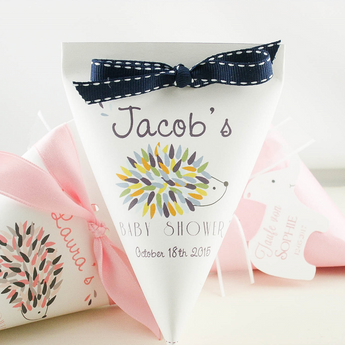 Set of 10 Baby Shower Favor bag for boys with blue ribbon