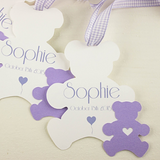 Set of 10 bears Baby Shower favor tags for girls