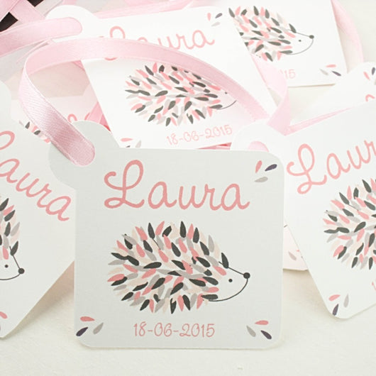 Set of 10 Baby Shower favor tags for girls
