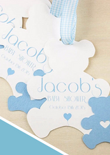 Set of 10 bears Baptism favor tags for boys in light blue