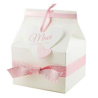 Set of 10 Baby Girl Shower box with personalized heart tag