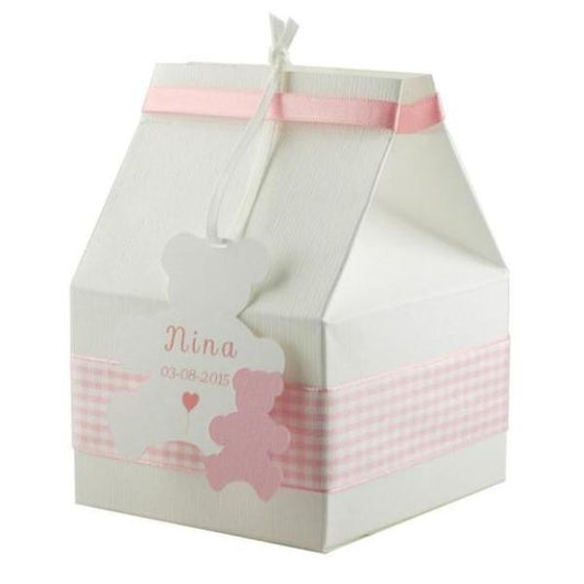 Set of 10 Baptism Favor Box for baby girl in white/pink with personalized bear tag