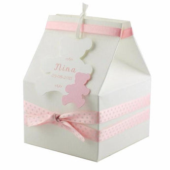 Baby Shower Favor Box for girl with satin ribbon and bear tag
