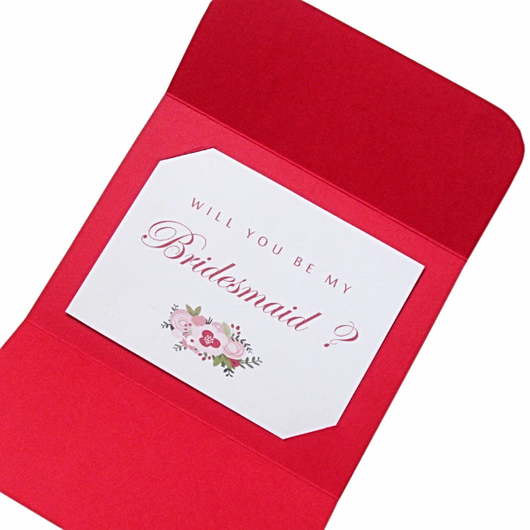 Red Bridal Shower invitations, Bridal Shower cards handmade, Maid of Honor invite