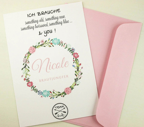 Pink Bridesmaid card, Bridal Shower invitations, Maid of Honor invitation