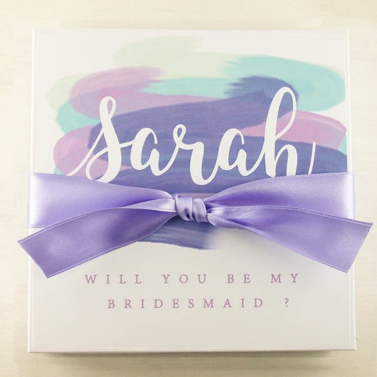 Purple Bridal Shower gifts Maid of Honor gift boxes Will you be my Bridesmaid gifts