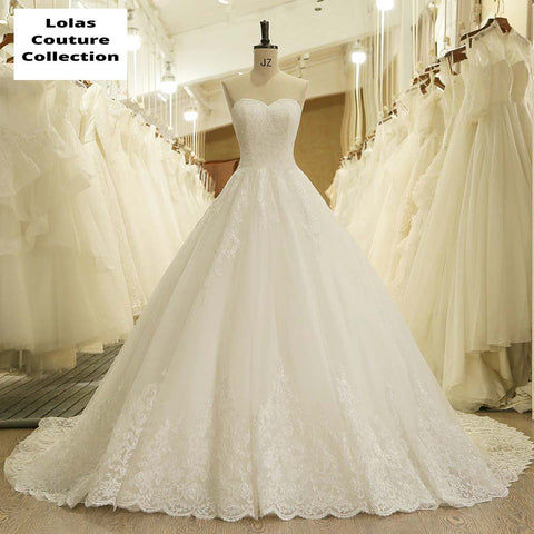 SWEETHEART APPLIQUE LACE VINTAGE PRINCESS WEDDING DRESS