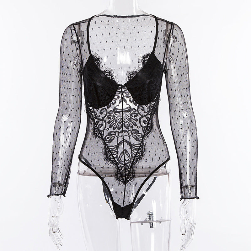 EYELET MESH LACE EMBROIDERED BODYSUIT - Lolas  Couture Collection