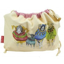 Sheep in sweaters drawstring bags by Emma Ball