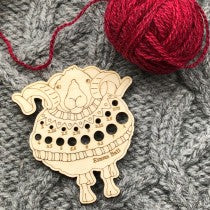 Sheep in sweater needle gauge by Emma Ball