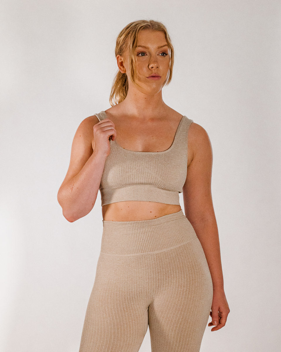 Ribbed Sand Seamless Sports Bra