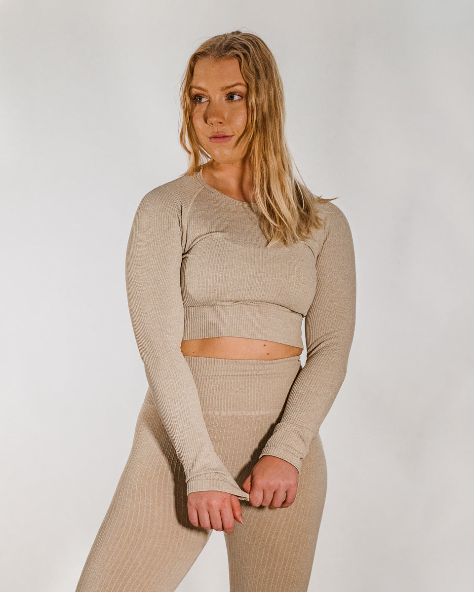 Ribbed Sand Seamless Long Sleeve Crop Top