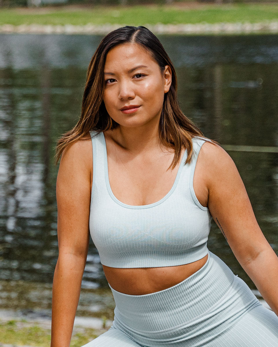 Ribbed Aquamarine Seamless Sports Bra