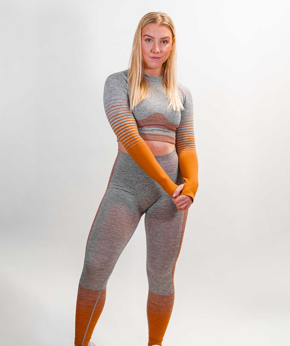 Hybrid Seamless Leggings | Tiger Orange