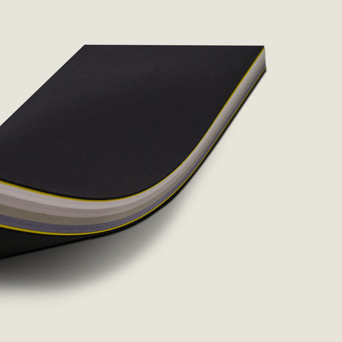 notebook (side stitched) - ebony - factory yellow - gradient