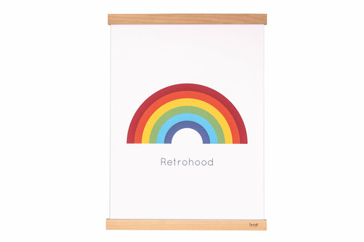 Retro Rainbow Print for children's rooms. Text reads Retrohood