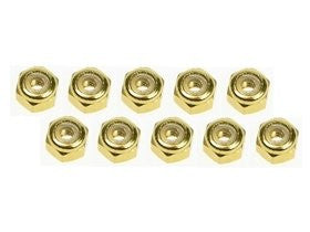 3 Racing #3 R/3 Rac Nf30/Go 3mm Aluminum Flanged Lock Nuts (10 Pcs)   Gold