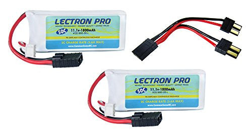 2 Pack Of Lectron Pro 11.1 V 1800m Ah 50 C With Traxxas Connector And Parallel Y Harness