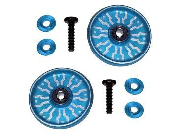 3 Racing #3 R/M4 Wd 31/Lb 17mm Aluminum Ball  Race Rollers ( Ringless )(Light Blue) For Tamiya Mini