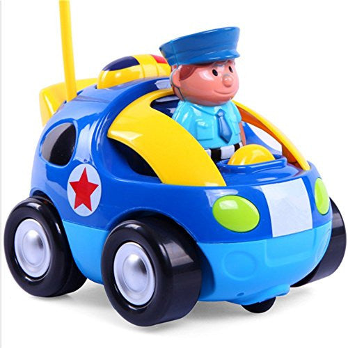 Aamina Cartoon Police Man Anti Toy Remote Controlled Vehicles For Kids,Dark Blue