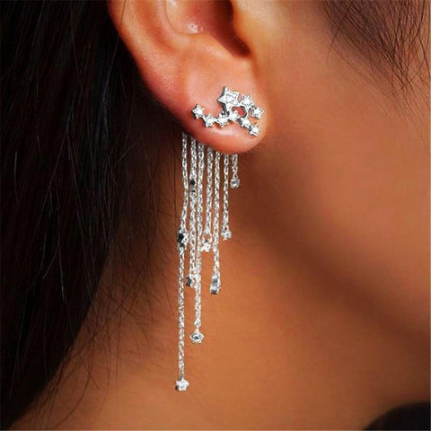 Long Tassel Crystal Earrings - Twisted Wire