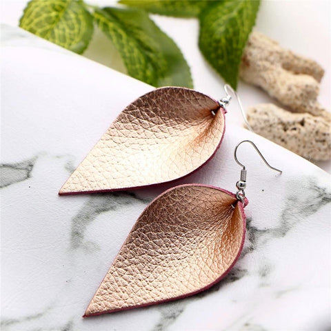 buy Leather Drop Earrings Twisted Wire