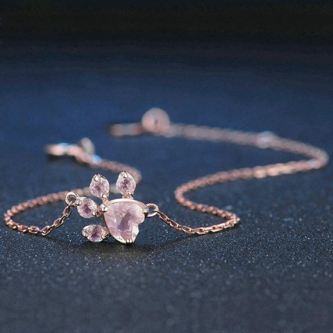 Twisted Wire Rose Quartz Paw Bracelet 3