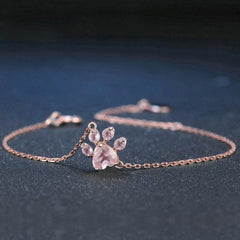 buy Rose Quartz Paw Bracelet Twisted Wire