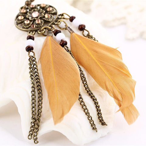 Twisted Wire - Long Feather Chain Tassel Earring Coffee