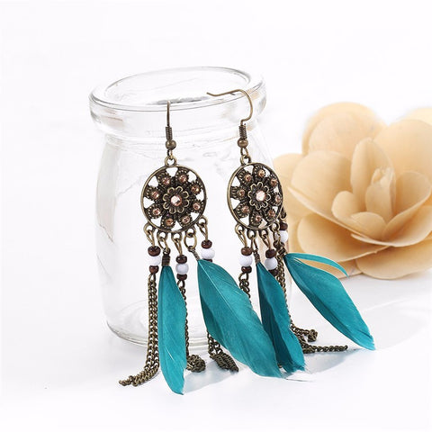 Twisted Wire - Long Feather Chain Tassel Earring Teal