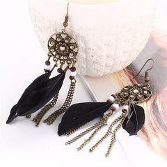 Twisted Wire - Long Feather Chain Tassel Earring Black