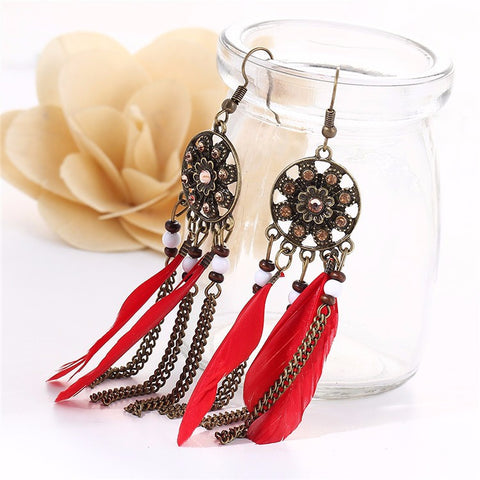 Twisted Wire - Long Feather Chain Tassel Earring Red