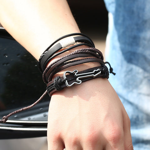 Leather & Hemp Guitar Bracelet