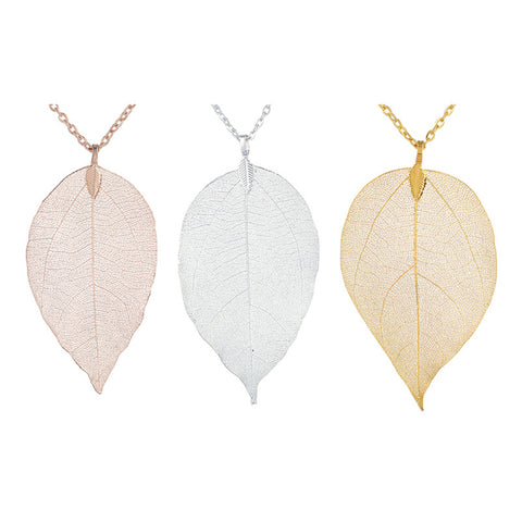 Twisted Wire Natural Leaf Necklace