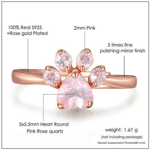 Twisted Wire Rose Quartz Paw Ring 6