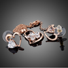 Image of Twisted Wire Rose Gold Heart Crystal Set 1