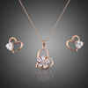 Image of Twisted Wire Rose Gold Heart Crystal Set