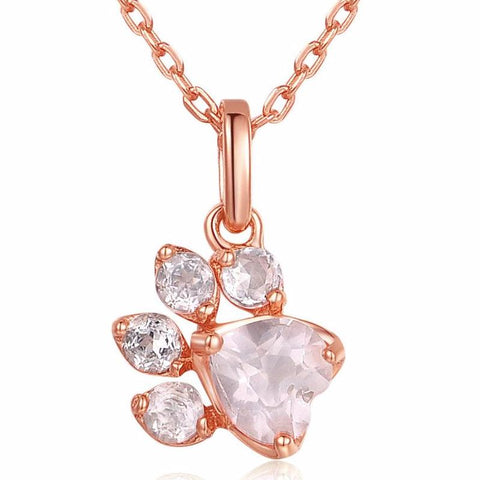 buy Rose Quartz Paw Necklace Twisted Wire