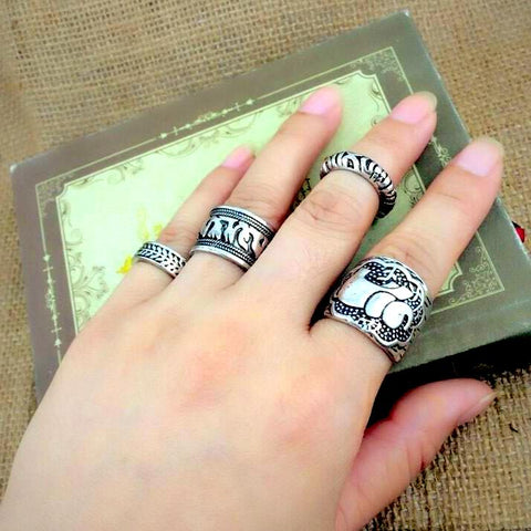 buy Vintage Boho Elephant Ring Set Twisted Wire