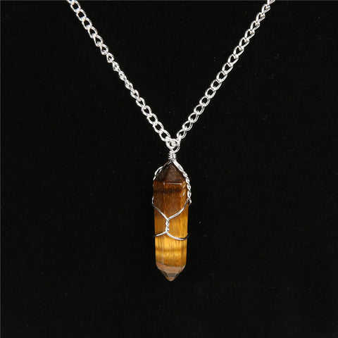 buy Natural Quartz Stone Pendant Twisted Wire