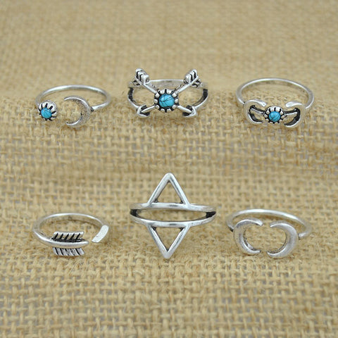 Twisted Wire - Sun & Moon Ring Set 5