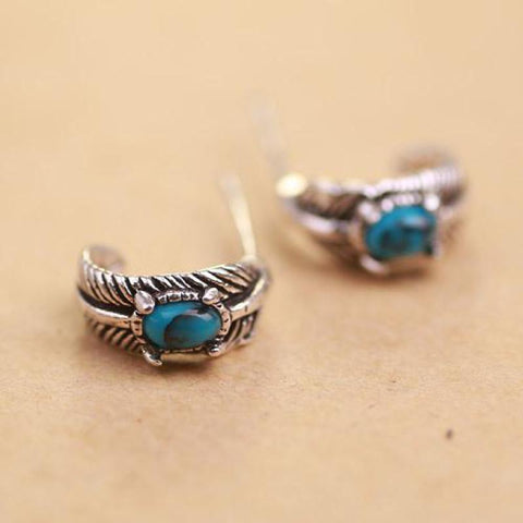 buy Mystical Turquoise Silver Earrings Twisted Wire