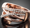 Image of Twisted Wire Rose Gold Crystal Ring 1