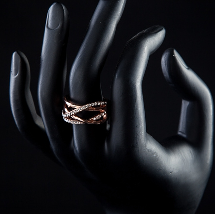 buy Rose Gold Crystal Ring Twisted Wire