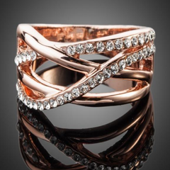 Twisted Wire Rose Gold Crystal Ring