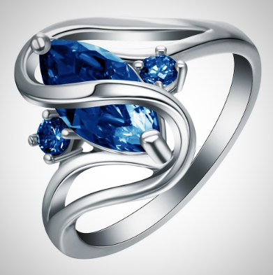 Twisted Wire Quality Cubic Zircon Wrap Ring DBlue2