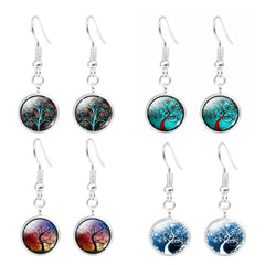 buy Tree of Life Glass Domed Dangle Earring Twisted Wire
