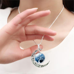 Tree Of Life Glass Domed Moon Necklace