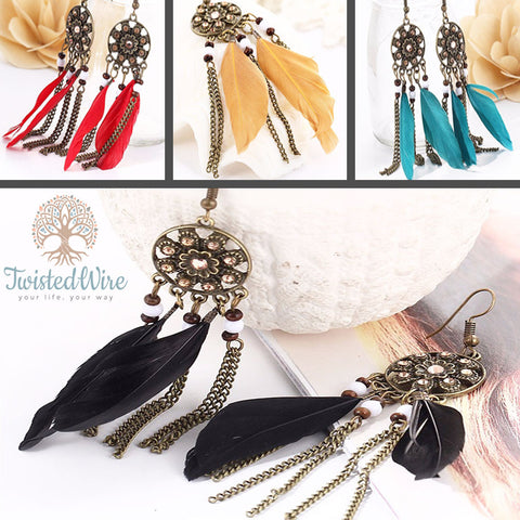 Twisted Wire - Dreamcatcher Feather Earrings