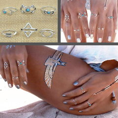 Twisted Wire Sun & Moon Ring-Set 10